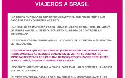 Alerta sobre Fiebre amarilla – Viajeros a Brasil